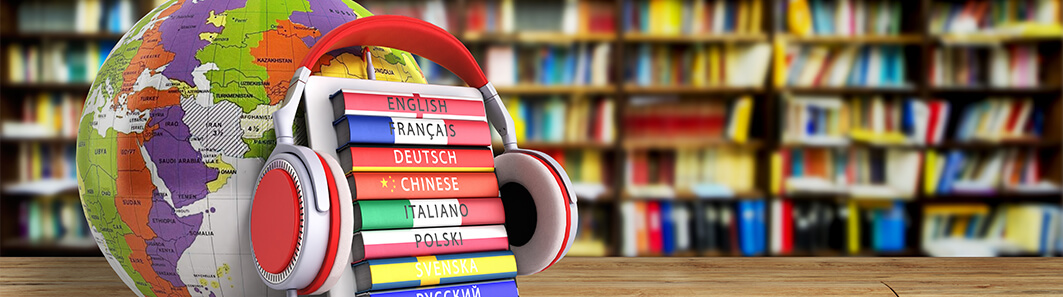 headphones, language books, globe